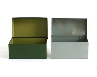 Metal Recipe Card Box 3 x 5 Gray Ohio Art or Unmarked Green File Box Organizer, Recipe File Boxes