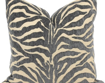 Lee Jofa Groundworks Pillow Cover Gray and Tan Zebra, Accent Pillow, Throw Pillow,  Pillow, Pillow Cover, Adler pillow Stripe pillow