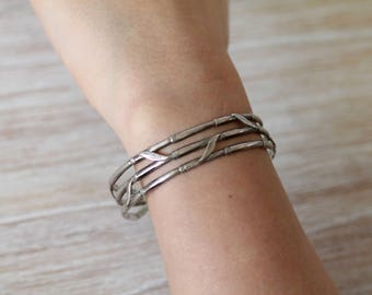 Handmade Artist bracelet  Bamboo Cuff Solid Sterling silver 925  size small