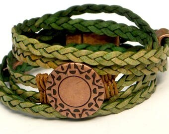 Green Braided Leather Wrap Bracelet, Whirly Wrap, copper wreath design button, natural green leather, copper accents, secure magnet