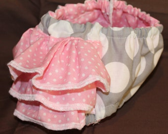 Pink and Grey Polka Dot Ruffle Diaper Cover Newborn - Ready To Ship