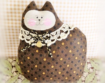 Halloween Black Cat Pillow, Cat Doll, 7 inch, Black Gold, Autumn, Fall, Primitive Soft Sculpture Handmade CharlotteStyle Decorative Folk Art