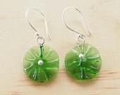 Earrings. Recycled Glass Beads made from a Peroni Beer Bottle