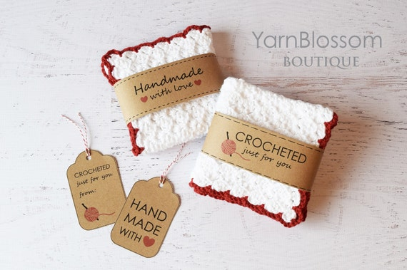 Crochet PATTERN -Country Kitchen with BONUS printable Gift Tags- Dishcloth strawberry Cake play food pretend play PDF pattern