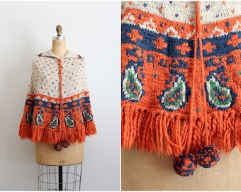 Vintage 70s Bohemian Pasley Cape /  Crocheted Cape/ Poncho/ Shawl/ Ruana /Size S/M