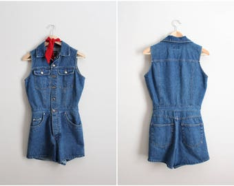 80s Blue Jean Romper / 1990s Jean Shorts / Denim Romper / Size S/M