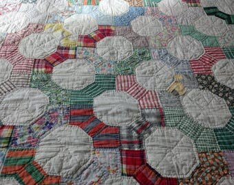 Vintage Hexagon Quilt, Similar to Flamingo Toes Pattern, Multi Color