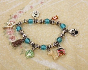 Blue and Silver Bead with Dog Theme Charm Stretch Bracelet