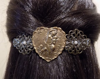 Large Barrette for Thick Hair/ womens gift/ heart barrette