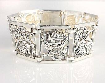Sterling Panel Bracelet, Repousse silver Rose Bracelet, 7 inch Vintage Danecraft style jewelry
