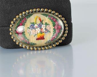 Vintage Intaglio glass Brooch, Reverse painted Rose Flower Basket Brooch, 1940s jewelry