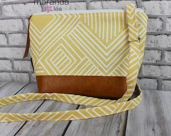 BRI Large Messenger Bag  Solana Yellow - READY to SHIP  Adjustable messenger Zipper Purse