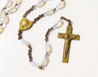 Vintage Iridescent Clear Glass Bead Cross Rosary 1940s Prayer Beads