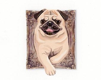 Pug Tiny Art Print - Tan - Dog Art Print - Tiny Fawn Pug in a Frame