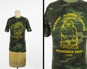 Vintage 1986 Woodchuck Derby T-shirt Vermont Camo Tee Army Green - XS / Small