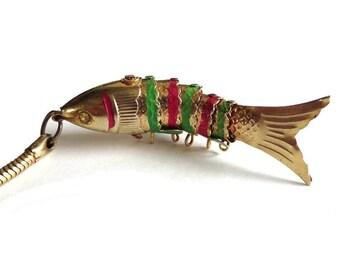 Vintage Articulated Fish Key Chain Magenta Green Metal Koi Fish Key Chain Charm