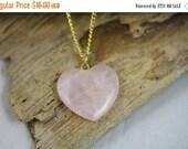 Christmas Sale Rose Quartz Heart Necklace - Item 1852