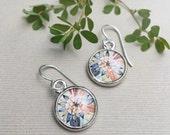 SILVER FLOWER EARRINGS | Art Jewelry | Wearable Art Earrings | Zinnia Flower Colorful