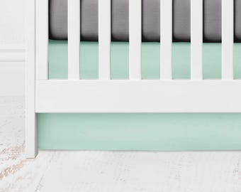 Mint Straight Crib Skirt -  Kona Cotton - Spearmint - Mint Crib Skirt - Mint Baby Bedding - Mint Bed Skirt