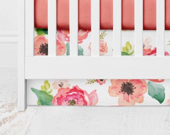 Floral Dreams Straight Crib Skirt  - Floral Crib Bedding - Baby Bedding - Crib Skirt - Bed Skirt - Floral Crib Skirt - Girl Crib Skirt