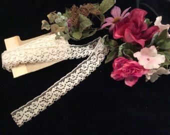 Vintage Ivory Nylon Lace, Vintage Lace, Vintage sewing Supplies, Vintage Craft Supplies, Vintage Wedding Lace, Vintage Bridal Lace