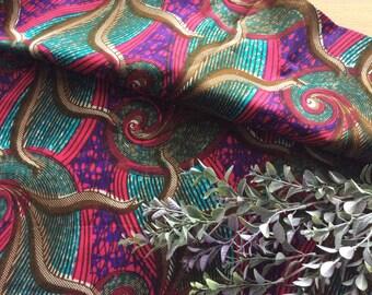 Vintage Bohemian Veritable Wax Block Phoenix Hitarget Cotton Fabric Swirl Design, Vintage Textiles, Vintage Material