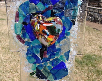 Lake Tahoe glass fusion yard art-Glows in the dark!