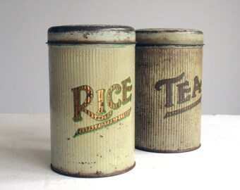 two vintage rice and tea food tins