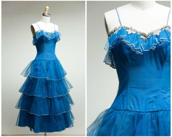 Vintage 1950s Dress • Astral Nights • Blue Tulle with Silver Trim 50s Party Dress by Emma Domb Size XSmall