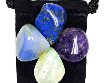 BAD DREAMS & NIGHTMARES Tumbled Crystal Healing Set - 4 Gemstones w/Description Pouch - Amethyst, Blue Chalcedony, Lapis Lazuli, Prehnite