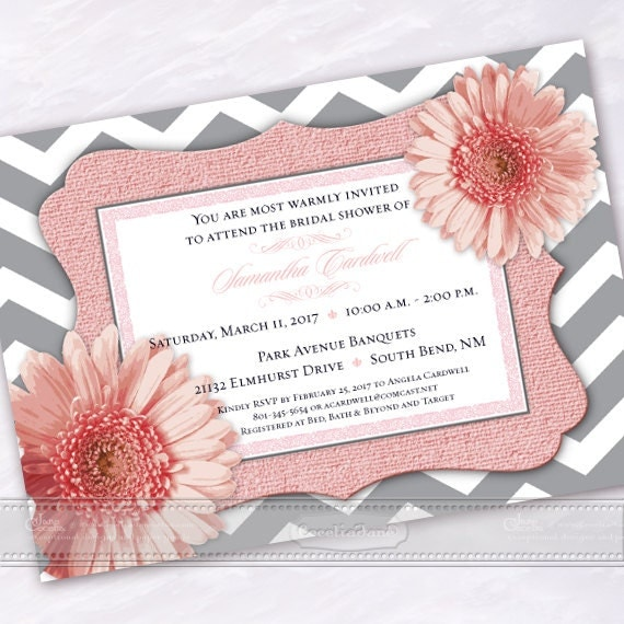 wedding invitation, pink wedding invitation, bridal shower invitation, pink chevron wedding invitation, gray and pink shower, IN544