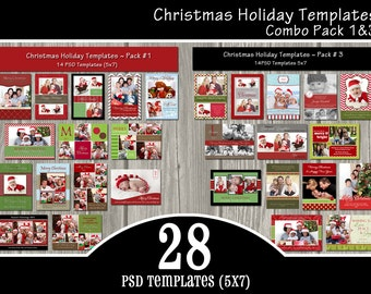 INSTANT DOWNLOAD - 28 Holiday Card Templates Combo Pack - PSD Christmas Templates, Holiday Templates - over 30% savings