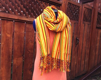 Mexican Rebozo, Yellow Aztec Cambaya Shawl, Long Scarf, Tribal Wrap, Doula Midwife Labour Tools, Baby Shower Gift, Aztec Frida Style Costume
