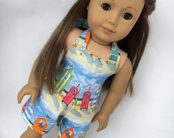 18 inch beach house halter romper, made to fit 18 inch doills such as American Girl  and Bitty Baby