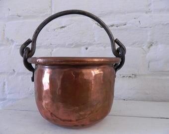 Vintage Handled Copper Pot/Planter Hammered Finish