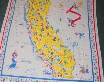 "California Souvenir State Map Vintage Tablecloth Novelty Retro Kitchen 47"" x 58"""