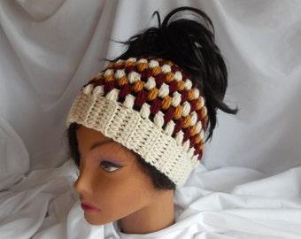 Messy Bun Hat Pony Tail Hat - Crochet Woman's Fashion Hat - Wine, Honey, Beige