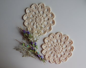 "Crochet Doily - Small Off White Ecru Pair - Lacy Mini 6"" - Set of 2"