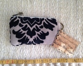 Carpet bag Coin Purse: Black Beige & Damask Cut velvet 6in Coin Purse/cell phone case Ready To Ship