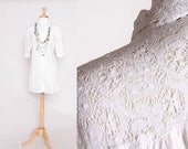 ON SALE Vintage 90s White Long Sleeve Button down with Lace