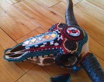 Cow Skull, Resin, Intricately Beaded, Southwestern Decor, American Indian Decor, Skull Art, Mosaic