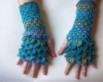 Dragon Scale/Mermaid Scale Fingerless Gloves/Arm Warmers