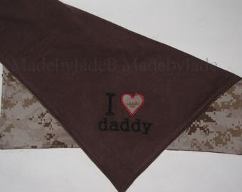 I heart Daddy / Marine Blanket / Lovey Size / Marpat and Flannel