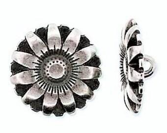 17mm Antique Silver Flower Button, Pretty Silver Button, Flower Button, 17mm Silver Button, Leather Wrap Button, Bracelet Button Clasp