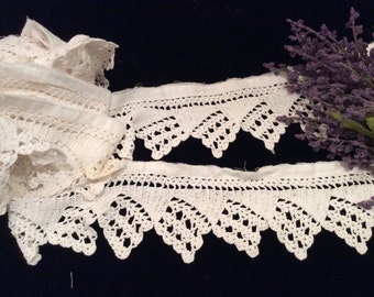 Vintage Ivory Crocheted Lace Trim, Vintage Crocheted Edging,  Crafting Supplies