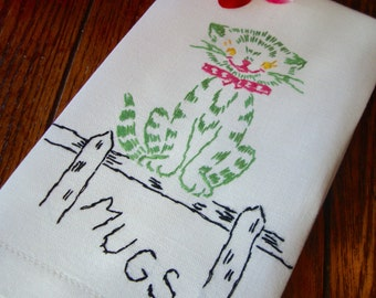 Embroidered Cat Towel Vintage Kitty Towel Kitchen Towel Tea Towel