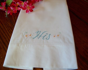 """His Embroidered Pillowcase Single White Vintage Pillow Case Embroidered """"His"""" Bedding Bed Linens"""