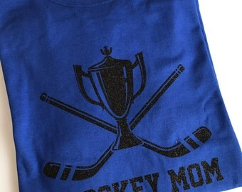 Hockey Mom Jersey Glitter Material with Personalized Name and Number Back design.