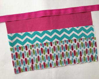 Classroom Apron- feathers (pink & teal)