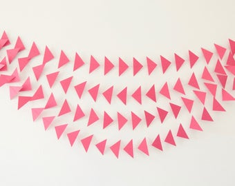 Pink Triangle Garland, Triangle Garland, Paper Triangles, Paper Triangle Garland, Birthday Garland, Photo Prop, Paper Garlands
